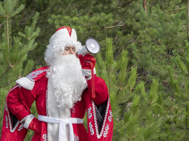 Father Frost shouts in the megaphone. The New Year`s character informs in a loud-hailer against the background of the nature stock photography