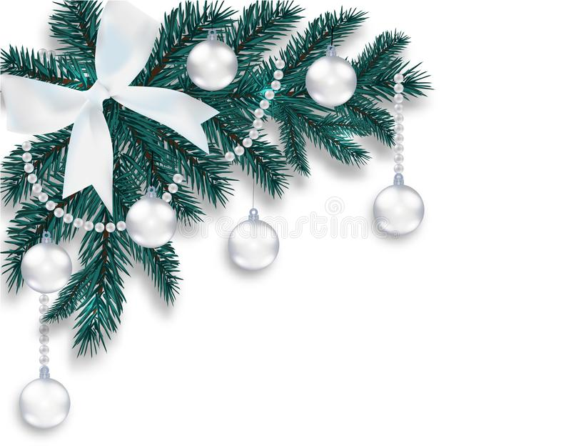 New Year s Christmas. A blue branch of a Christmas tree with toys with a shadow. Corner drawing. White onions, silver stock illustration