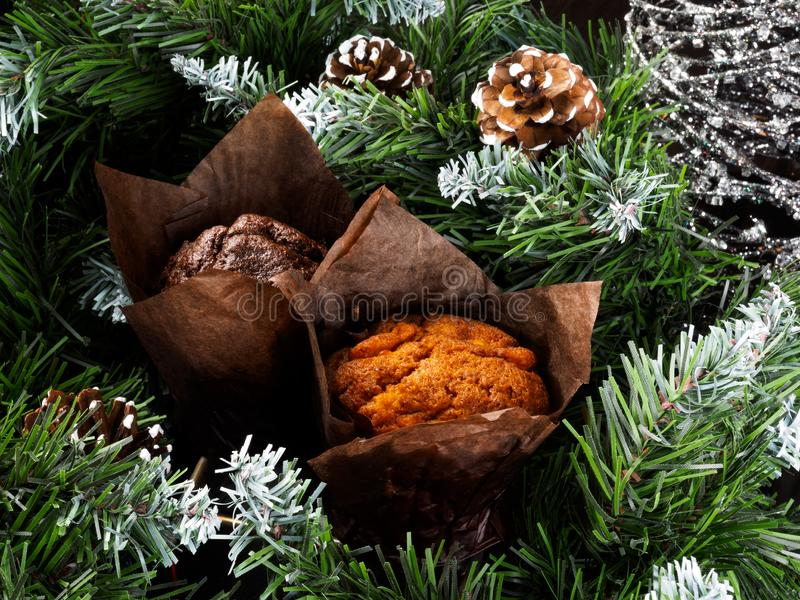 New Year& x27;s and Christmas cake on the table. Christmas festive cupcake royalty free stock photo