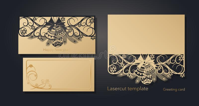 New Year`s and Christmas. Laser greeting card template, invitations for New Year events. Winter openwork, snow pattern vector illustration