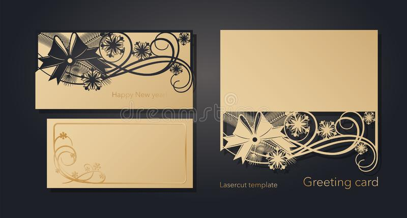 New Year`s and Christmas. Laser greeting card template, invitations for New Year events. Winter openwork, snow pattern. From craft paper, cardboard, gold royalty free illustration