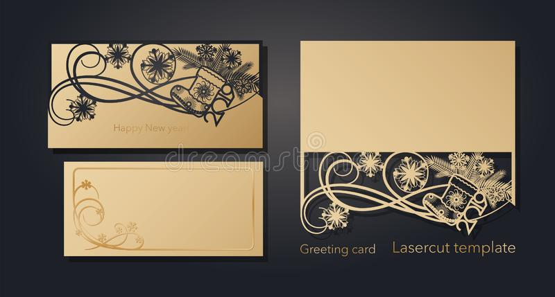 New Year`s and Christmas. Laser greeting card template, invitations for New Year events. Winter openwork, snow pattern. From craft paper, cardboard, gold stock illustration