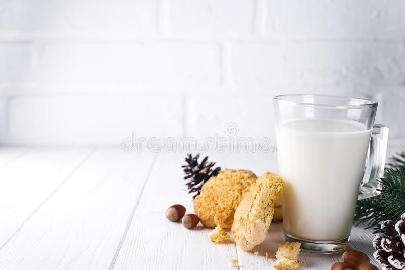 Glass of milk and cookies left for Santa Claus specifically. royalty free stock images