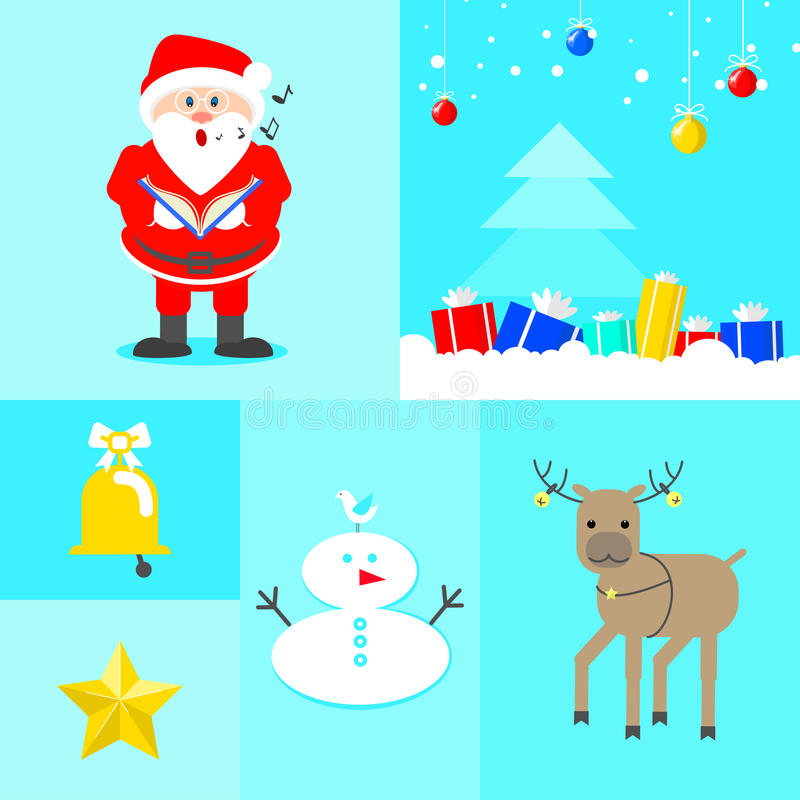 New Year`s collage. Santa singing christmas tree with gifts, rei vector illustration