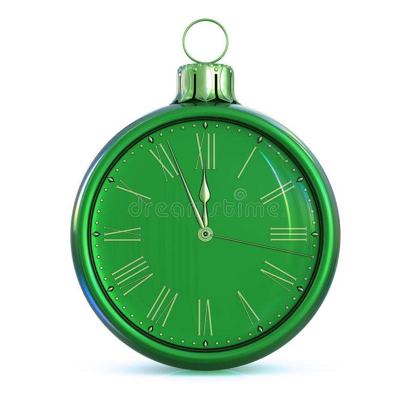 New Years Day midnight Christmas ball green 12 o`clock face. Last hour countdown pressure. Decoration time ornament bauble concept. Happy wintertime holidays stock photo
