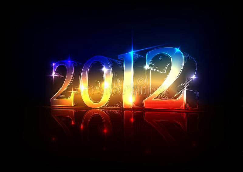 New Year's Eve 2012, a neon design. Drawn by hand vector illustration