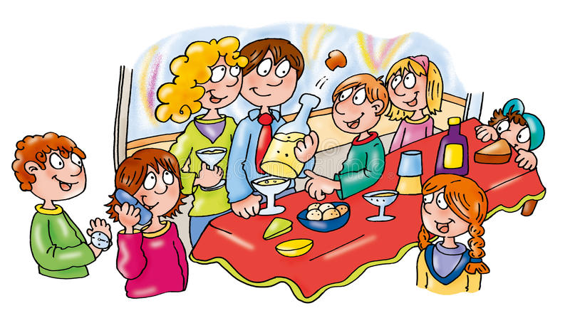 New Year's Eve big party with friends eating drinking and celebrating. royalty free illustration