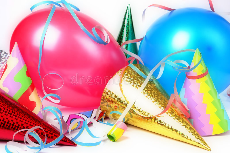New Year's Eve celebration. New Year's Eve party props over white background royalty free stock photos