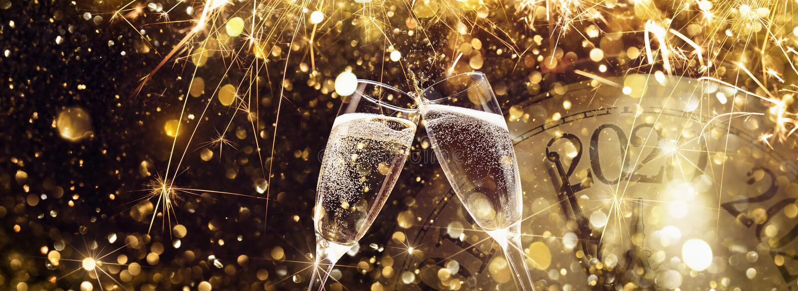 New Year`s Eve 2020 Celebration Background. With Champagne stock images