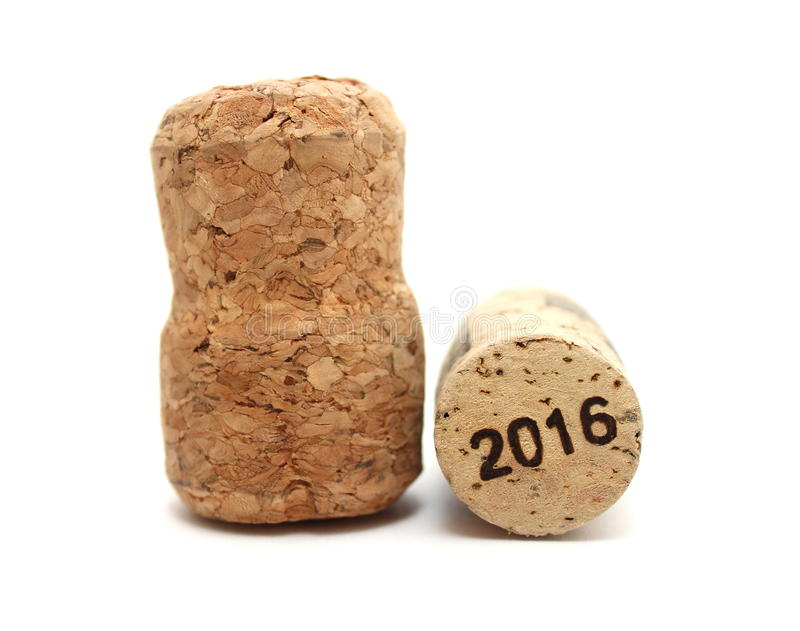 New Year's Eve/Champagne and wine corks new year's 2016. Close-up on a white background royalty free stock photos