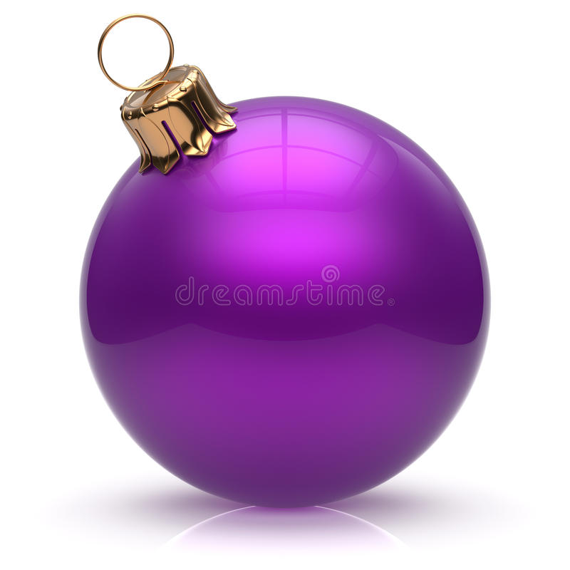 New Year's Eve Christmas ball bauble wintertime decoration. Christmas ball New Year's Eve bauble wintertime decoration purple sphere hanging adornment classic stock images
