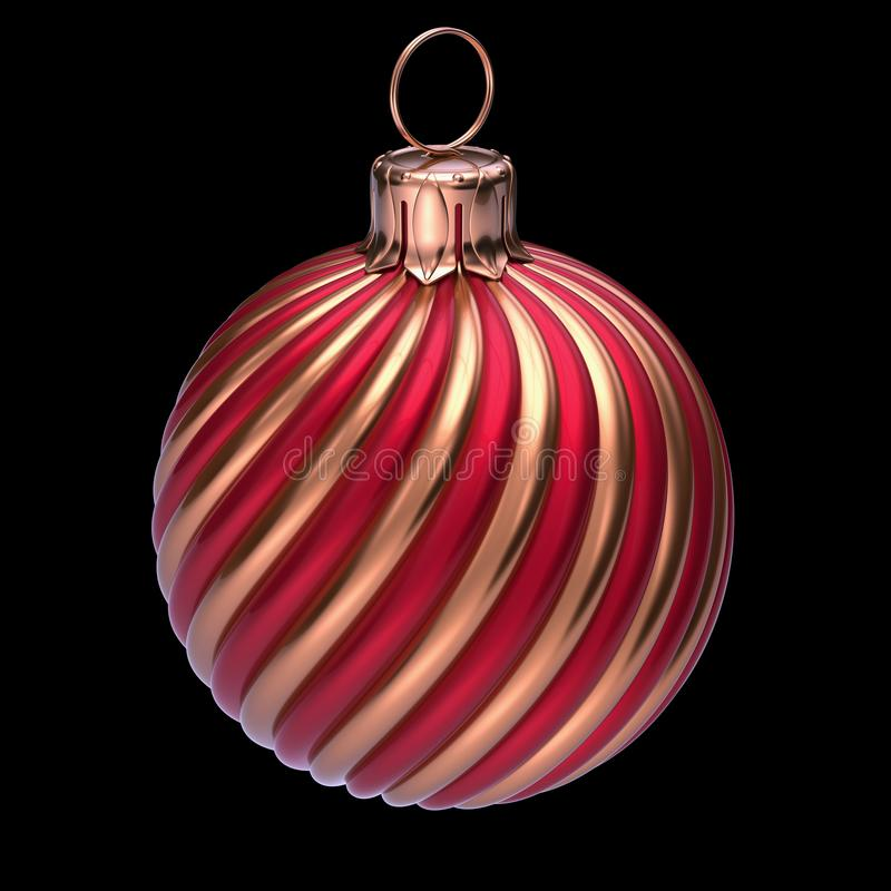 New Year`s Eve Christmas ball decoration closeup red golden stock photo