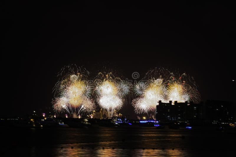 New Year`s Eve in Dubai, fireworks royalty free stock photography