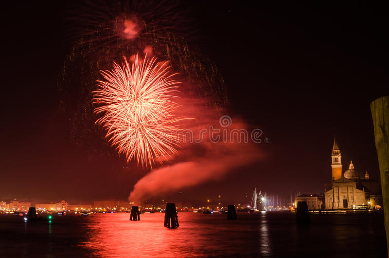New Year`s Eve Firework Display in Venice royalty free stock image