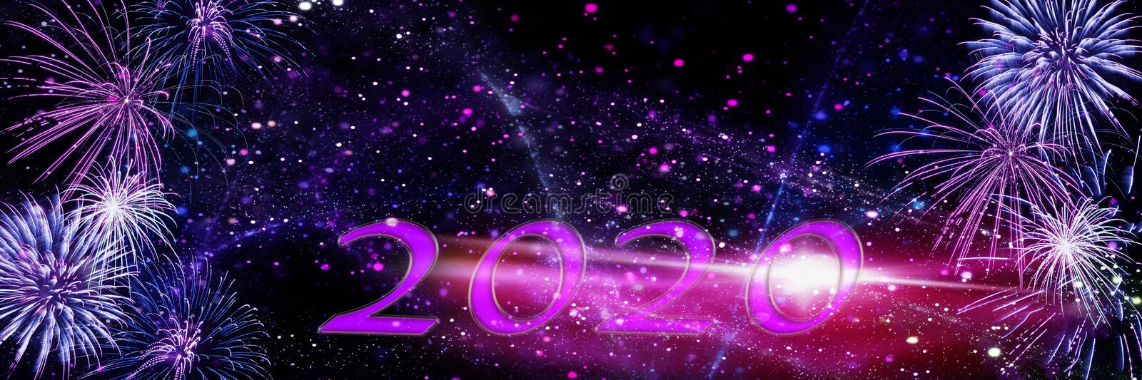 New Year`s Eve fireworks, New Year 2020, banner royalty free stock image