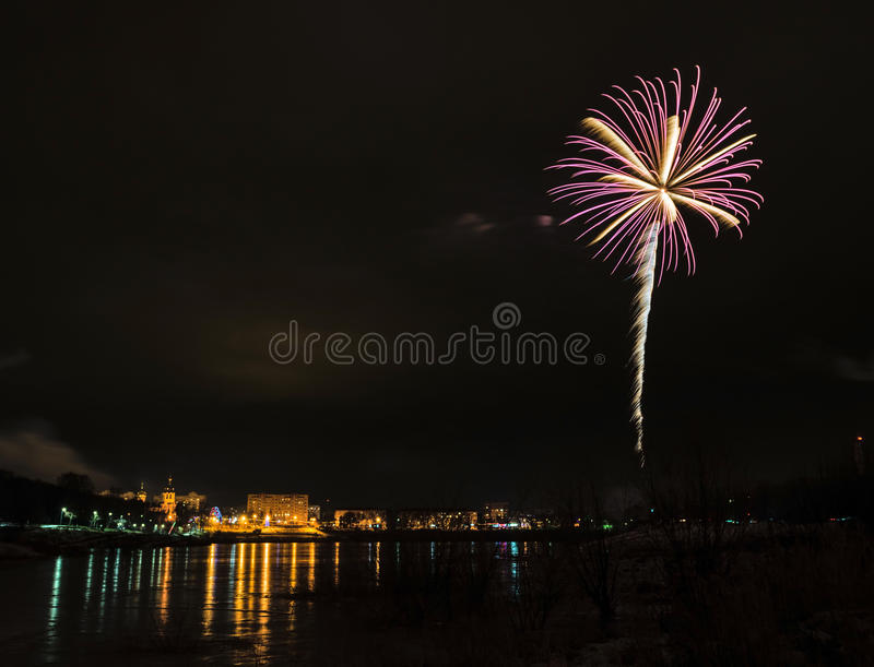 New Year S Eve Fireworks. Royalty Free Stock Photos