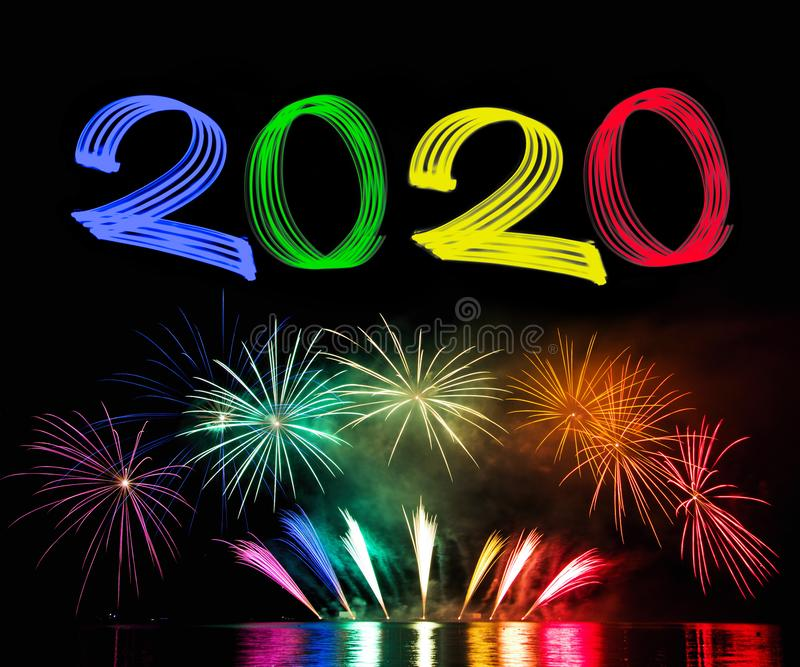 New Year`s Eve 2020 with Fireworks royalty free stock images