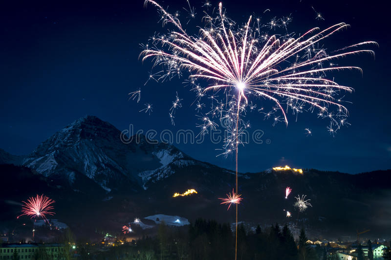 New Year's Eve fireworks rocket stock images