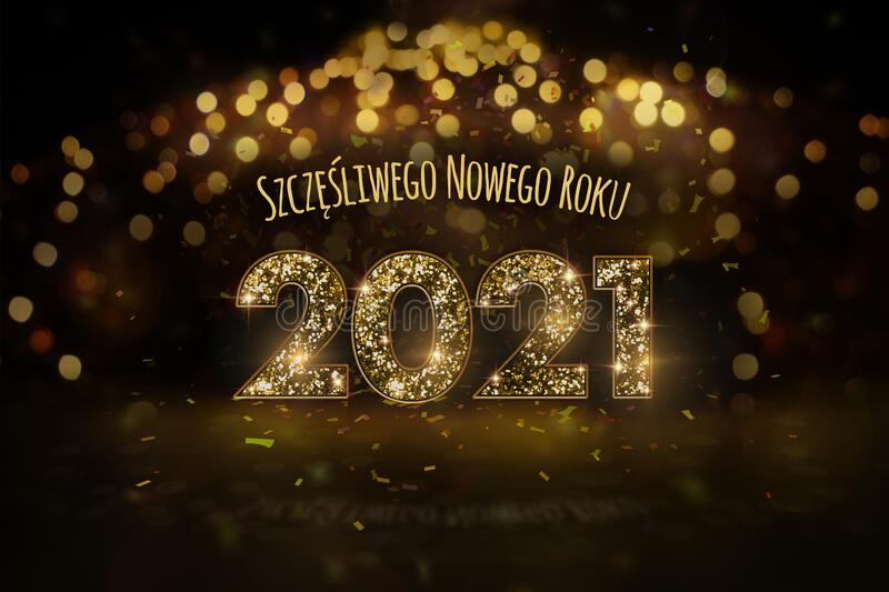 New Year`s Eve 2021 - Happy New Year In Polish Stock Illustration - Illustration of falling ...