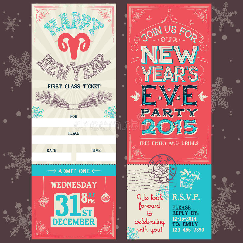 New Year\'s Eve Party Invitation Ticket Stock Vector - Image: 47360930