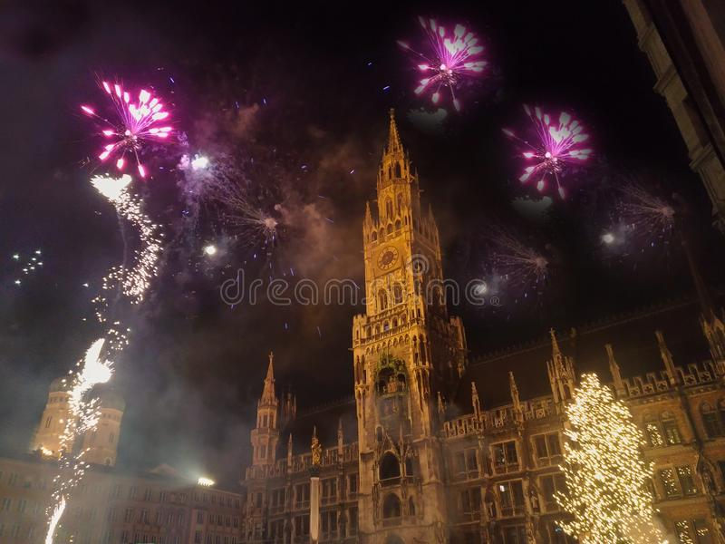 New Year`s Eve Party in the Marienplatz of Munich, Germany stock photos
