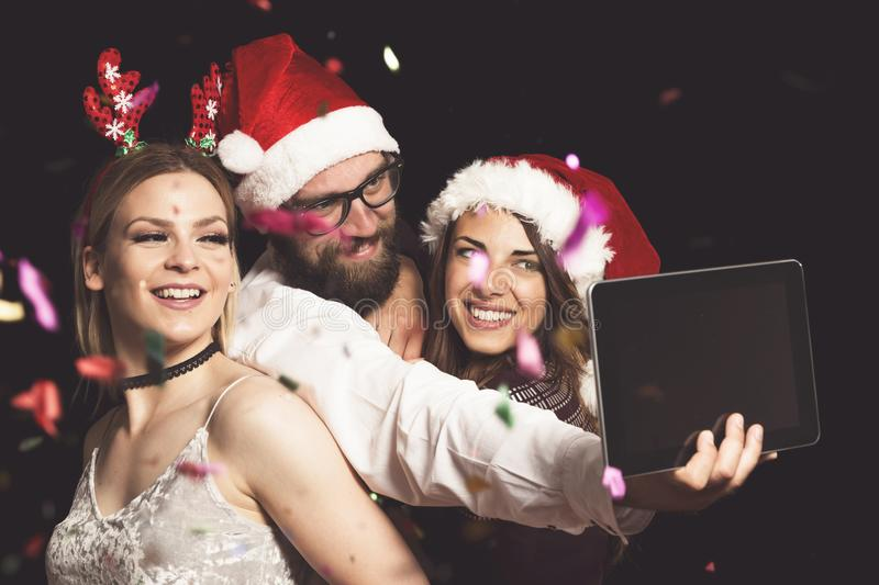 New Year`s Eve party selfie stock images