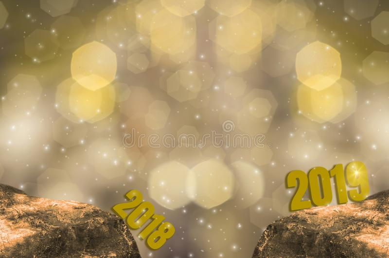 New Year`s Eve 2018 and Starting 2019 Brightness Theme of Gold,happy new year with sparkling golden light bokeh and glittering. Background royalty free illustration