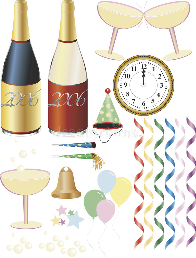 New Year's Eve Supplies stock images