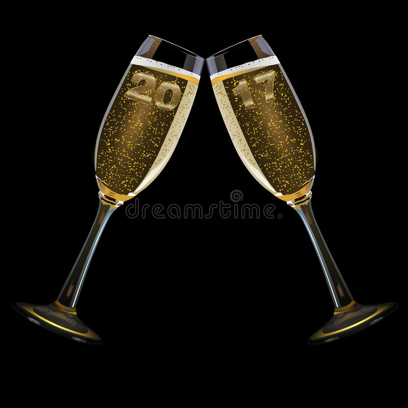 New Year`s Eve 2017. Two champagne glasses with the year 2017, isolated on black stock illustration