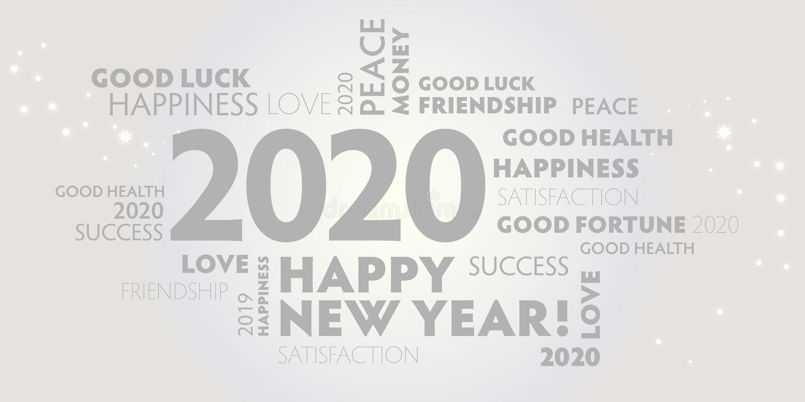 2020 happy new year white and grey background royalty free illustration