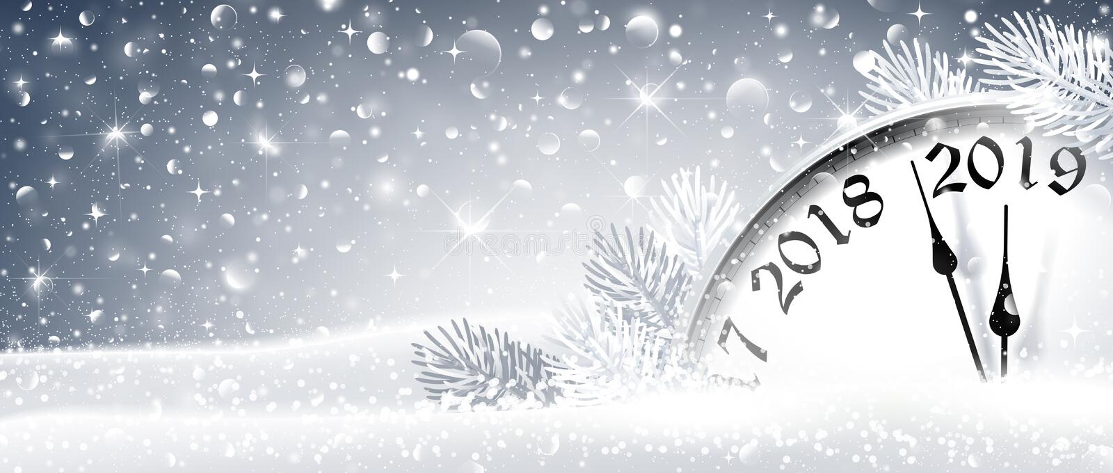 New Year`s Eve 2019 Winter Celebration With Dial Clock. Vector Illustration stock illustration