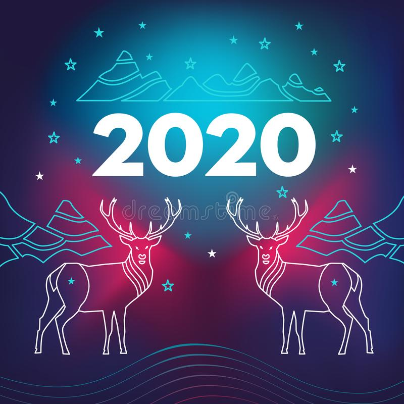 New Year`s facebook site cover with deer, mountains and number 2020.  Wavy, geometric background, modern gradient, curved shape,. In blue and red hues vector illustration