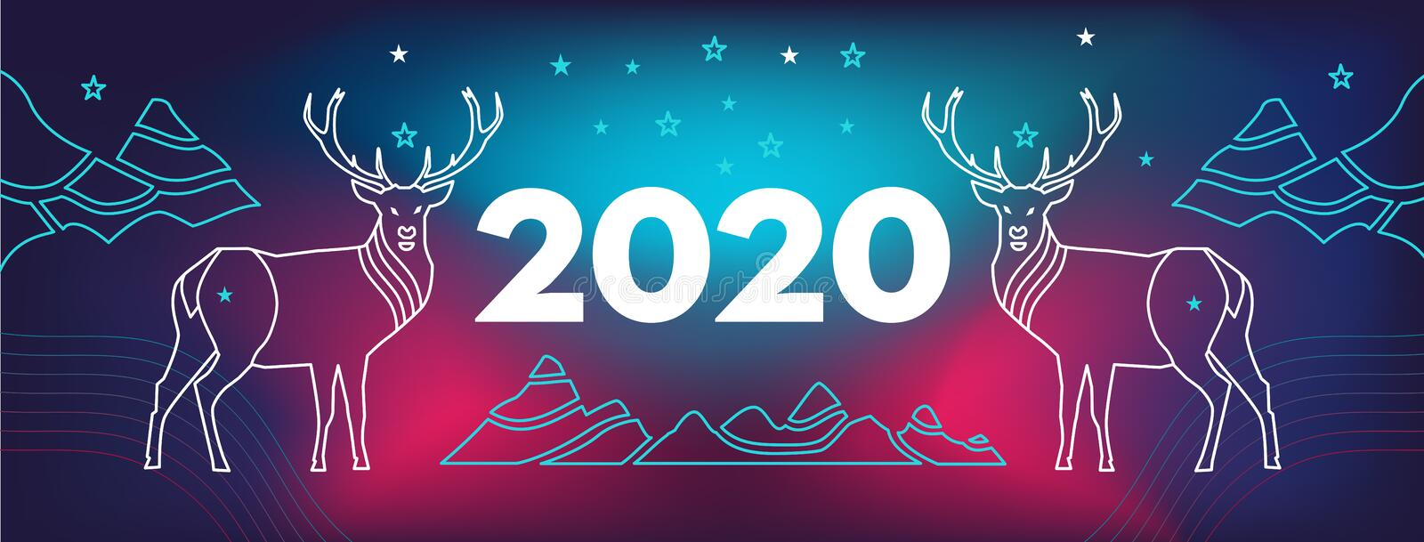 New Year facebook site cover with deer, mountains and number 2020.  Wavy, geometric background, modern gradient, curved shape,. New Year facebook site cover with vector illustration