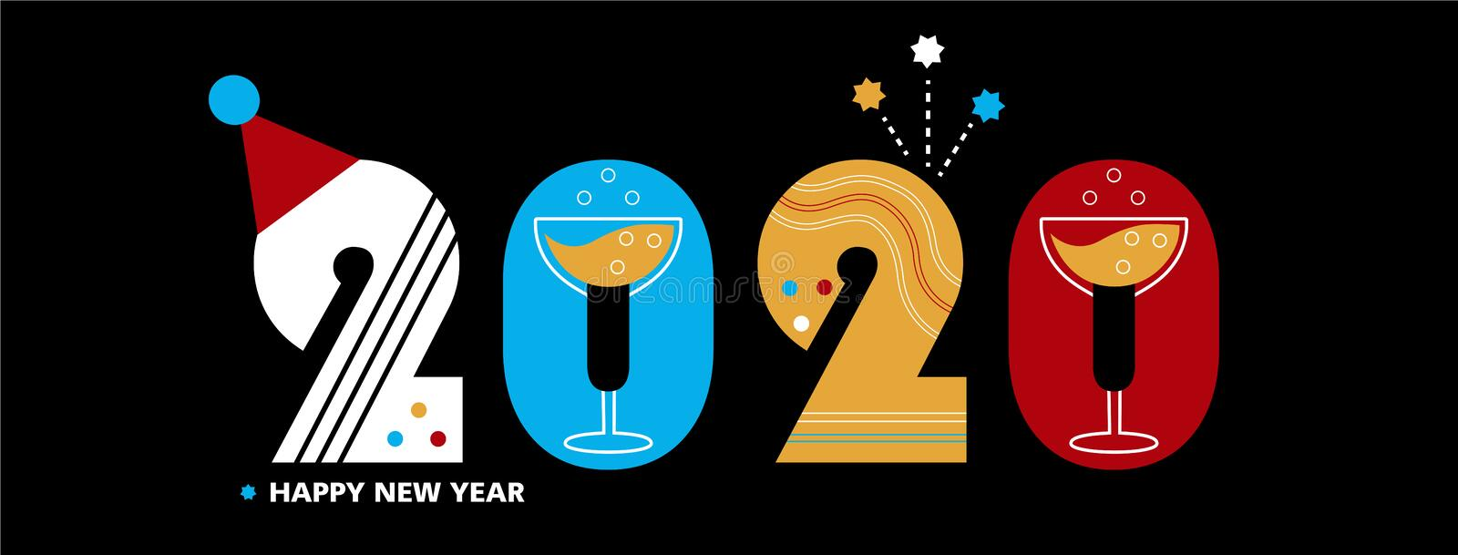 2020 - New Year`s facebook or site cover, vector template royalty free illustration