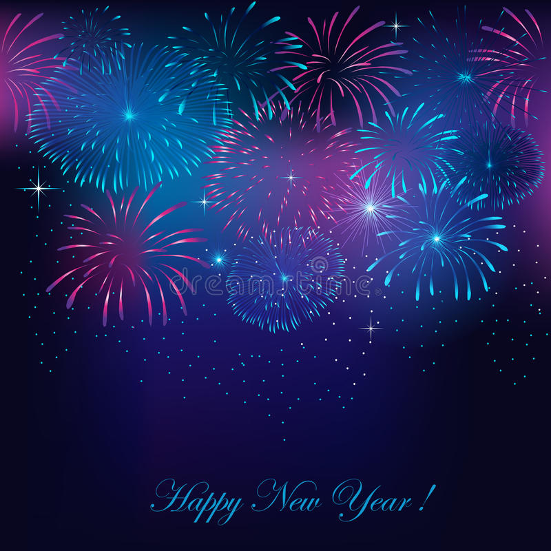 New Year`s fireworks. Background with fireworks stock illustration