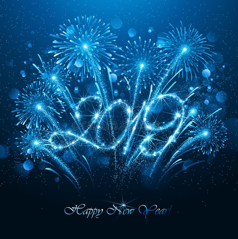 New Year`s Fireworks 2019 with Flickering Lights Effect. Vector vector illustration