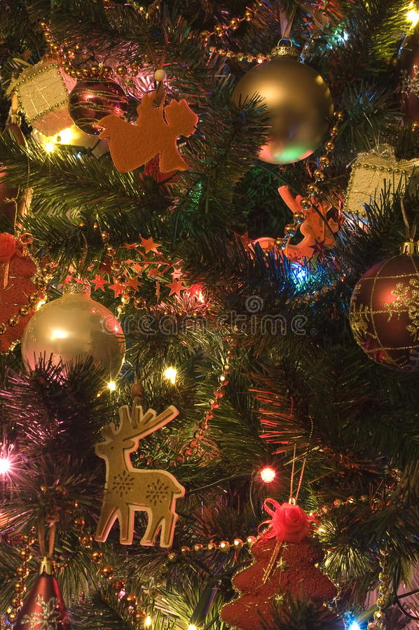 New Year's fur-tree toys on fur-tree royalty free stock image