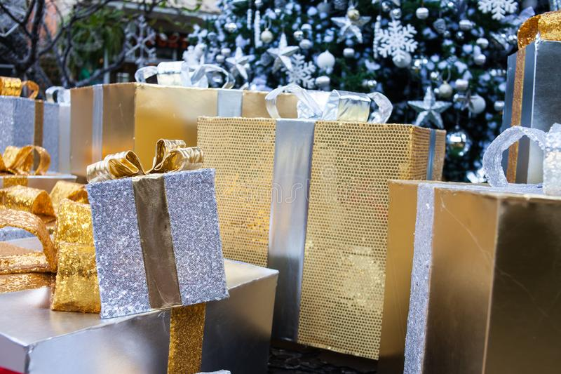 New Year& x27;s gift and decoration, Christmas background, gift box for special day. Abstract, anniversary, beautiful, birthday, bokeh, bow, boxes, celebration royalty free stock photos