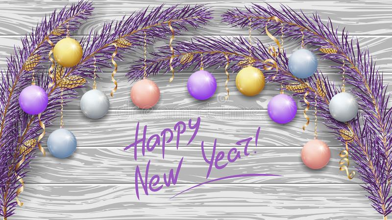 Merry Christmas and Happy New Year 2019. Purple branches of a Christmas tree in the snow. New Year`s holiday decorations, garland royalty free illustration