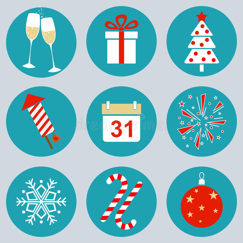 New Year's icons royalty free illustration