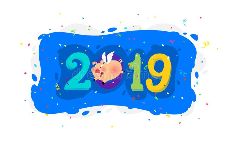 New year's illustration of a cartoon pig with the inscription 2019. Vector. The illustration is isolated on a white vector illustration