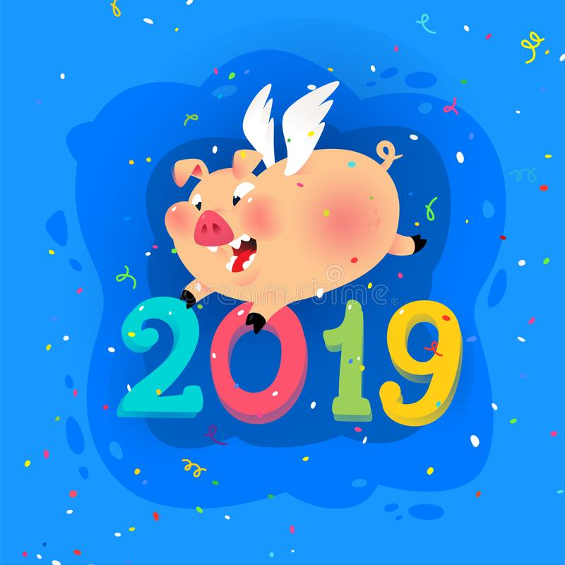New year's illustration of a cartoon pig with the inscription 2019. Vector. The illustration is isolated on a white royalty free illustration