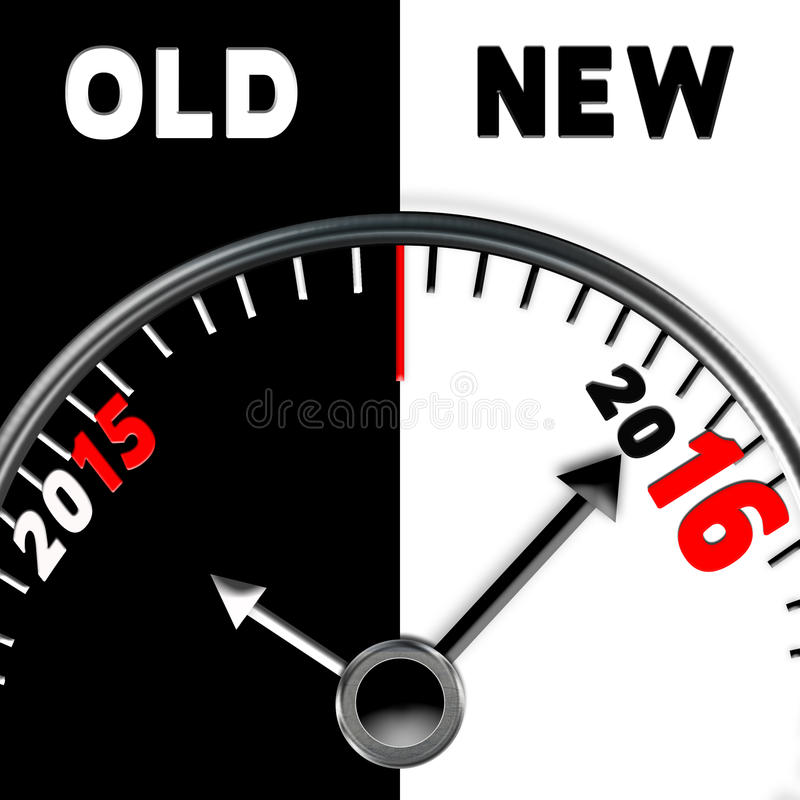 2016 New Year's Illustration Gauge. Gauge showing the old year 2015 tapped out and the new year 2016 in place stock illustration