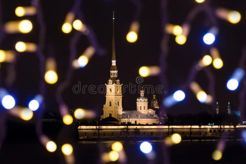 New Year`s landscape with glowing lights night St. Petersburg view of the Peter-Pavel`s Fortress stock photography