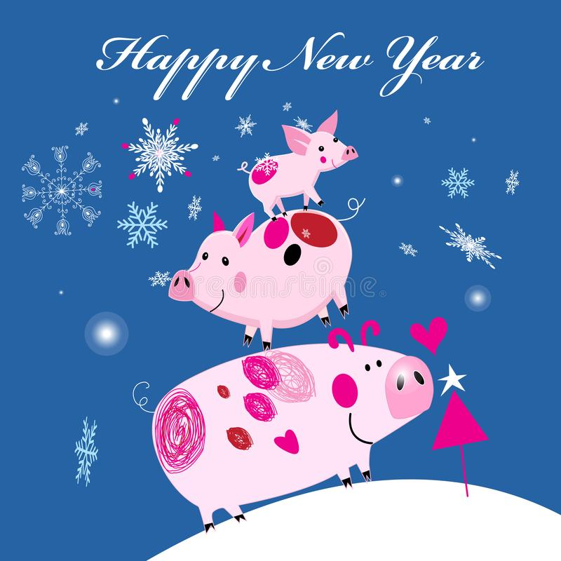 New Year`s merry greeting card with three smile piglets vector illustration
