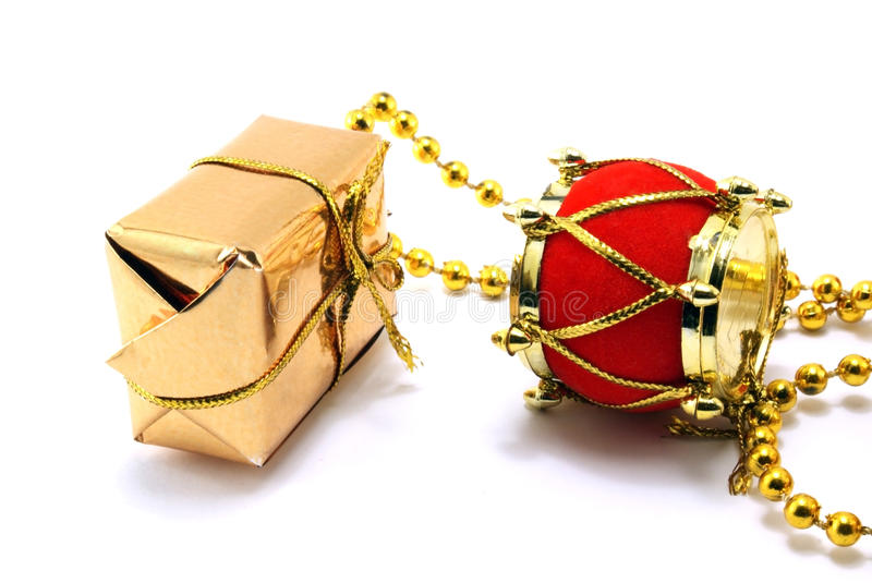 New Year's ornament. Box and drum stock photos