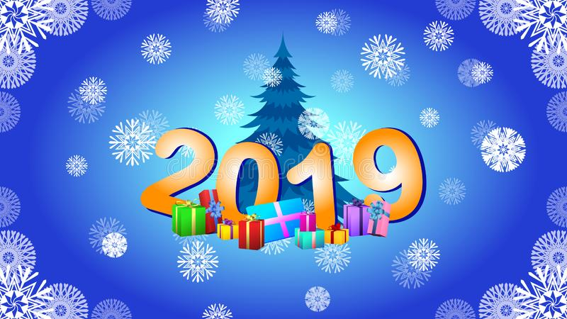 New Year`s picture 2019 and Christmas tree. On blue background with snowflakes stock illustration