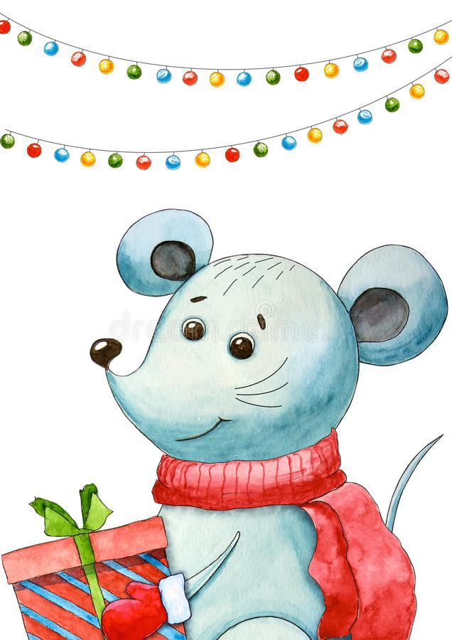 New year`s postcard with rat. Christmas and new year. Watercolor cartoon mouse. Cute character. Symbol 2020. Hand drawn illustrati royalty free illustration
