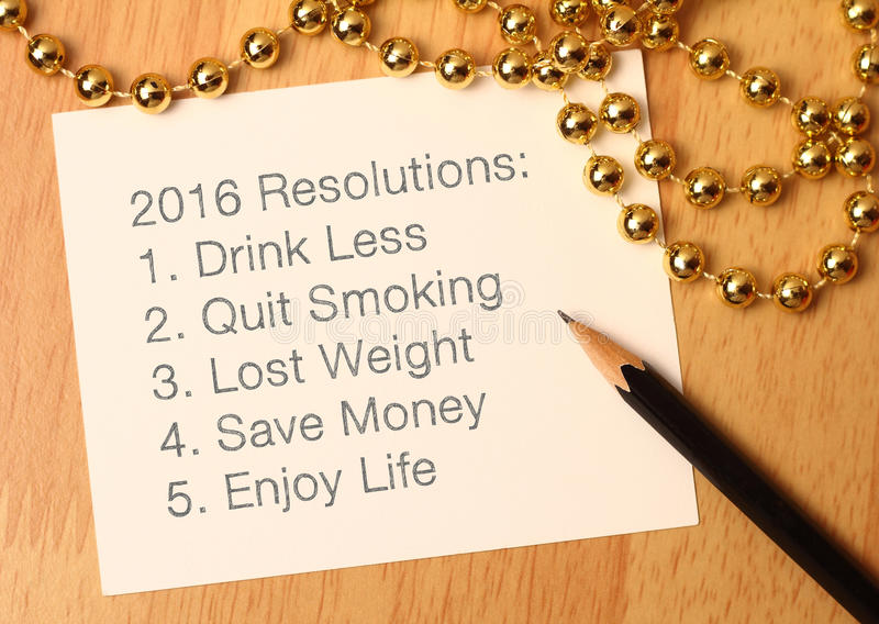 2016 New year's resolutions royalty free stock photo