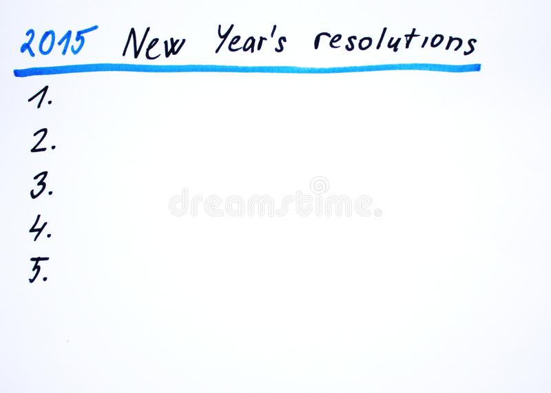 2015 New year´s resolutions royalty free stock photos